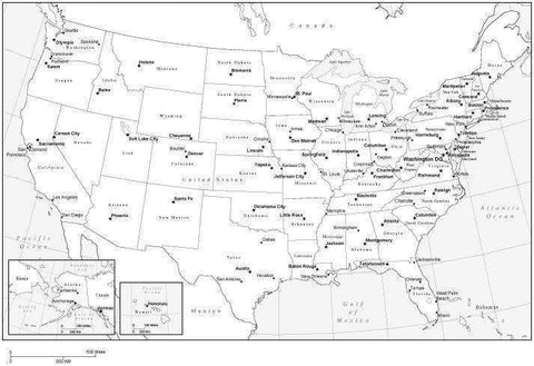 Black & White USA Map with Capitals and Major Cities, Framed Style
