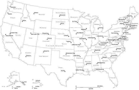 Black & White USA Map with Capitals