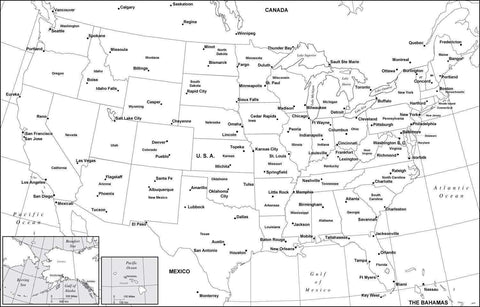 Digital USA Map with Major Cities - Black & White