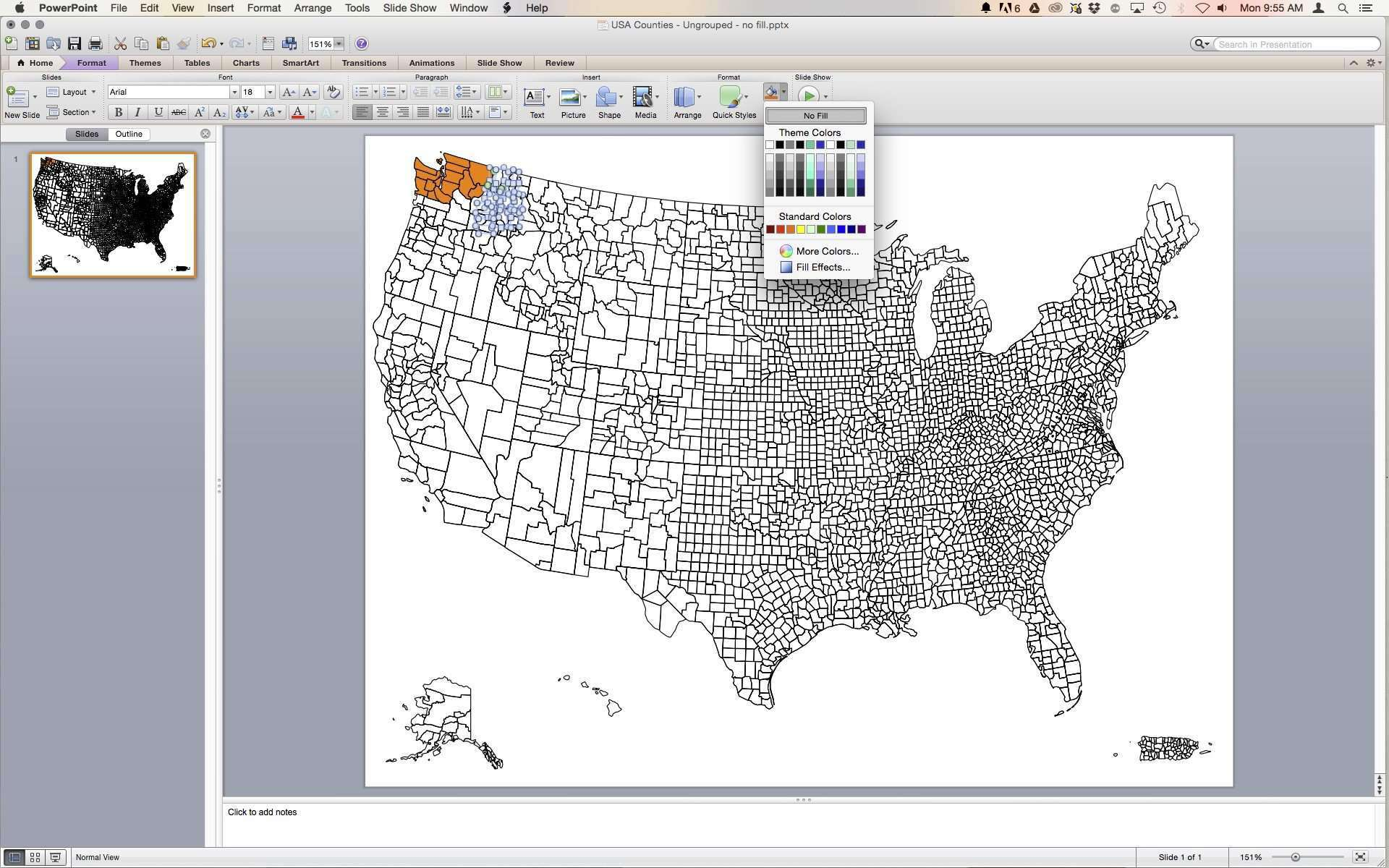 US map with All Counties in PowerPoint & Illustrator vector format ...