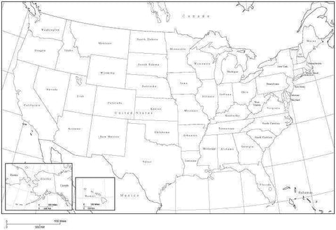 USA Black & White Map with States