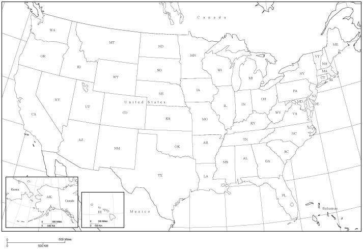 Digital USA Map with State Abbreviations - Black & White