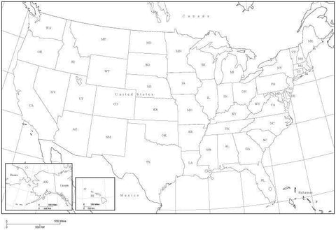 USA Black & White Map with State Areas and State Abbreviations