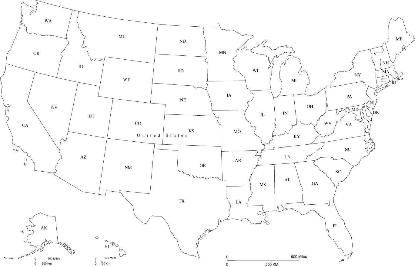 Map Of Us States Abbreviations - Printable us with state abbreviation map