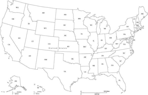 United States Black & White Map with States and State Abbreviations