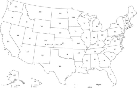 USA Map with State Abbreviations in Adobe Illustrator and PowerPoint ...