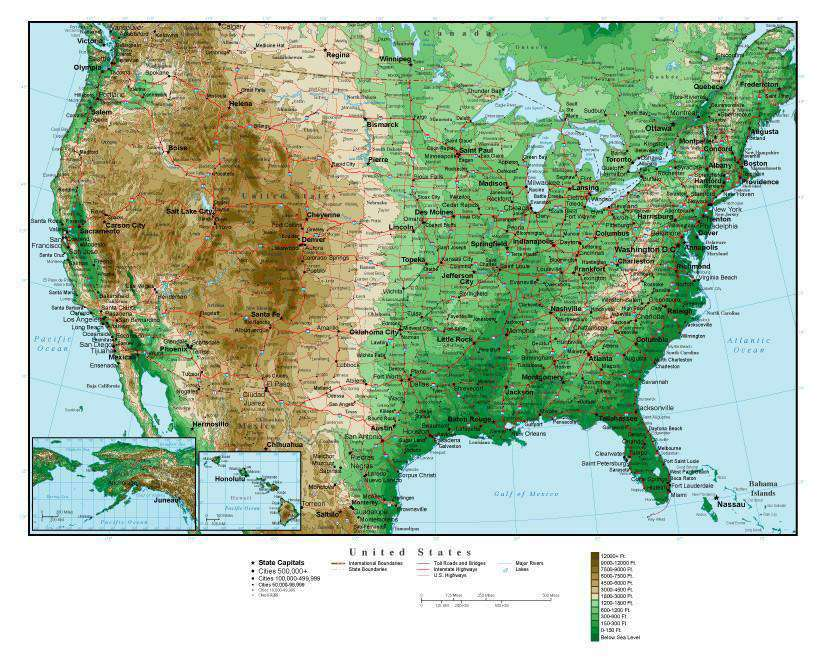 USA Map Curved Projection with Contour Background Map Laude on
