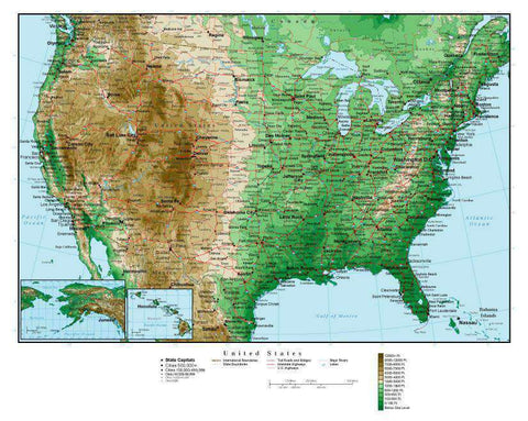 USA Map  Curved Projection with Contour Background
