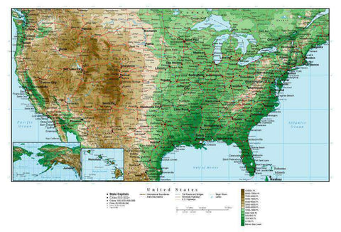 USA Map  Rectangular Projection with Contour Background