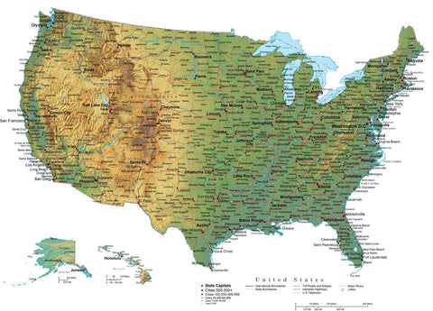 Digital USA Terrain map in Adobe Illustrator vector format with Terrain USA-XX-242125