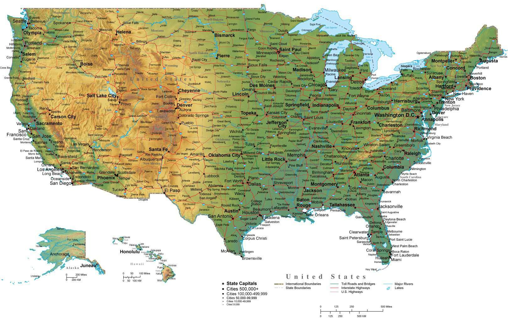 Terrain Map Of Usa Digital USA Terrain map in Adobe Illustrator vector format with