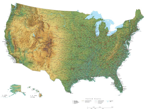 Digital Poster Size USA Terrain map in Adobe Illustrator vector format with Terrain USA-XX-302248