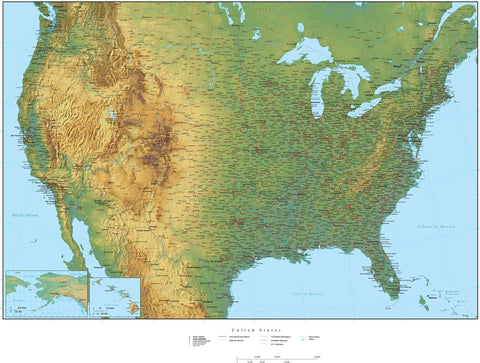 Digital Poster Size USA Terrain map in Adobe Illustrator vector format with Terrain USA-XX-302250