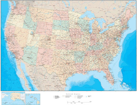 Poster Size USA Map with States and Terrain Background