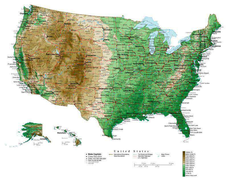 USA Map Curved Projection with Contour Background Map Resources