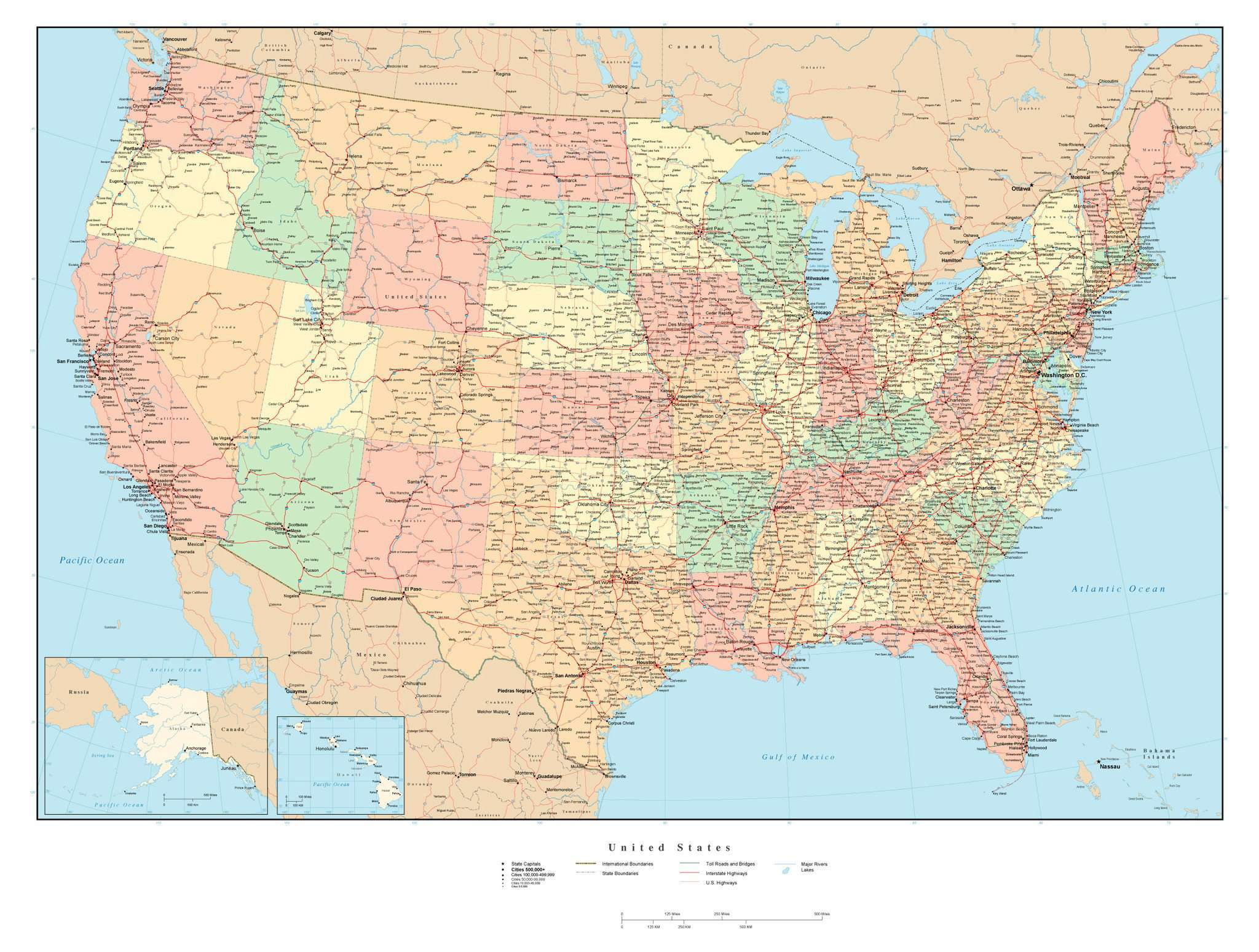 Poster Size USA Map With Cities Highways And Water Features - Usa map with roads and cities