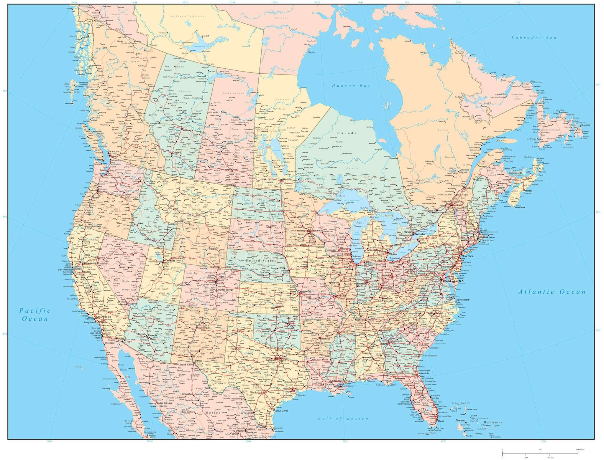 Usa And Canada Map With Major Cities Usa Get Free Image About - Usa map states and caps