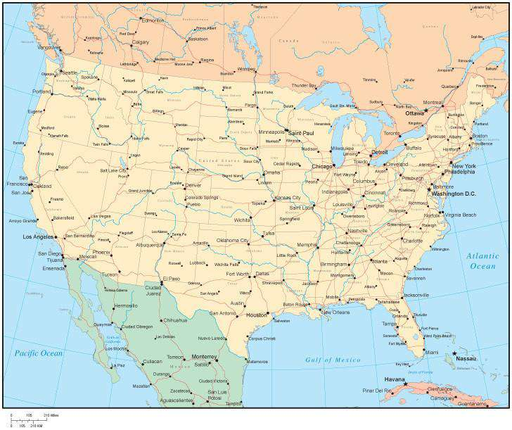 Multi Color United States Map With States Canadian Provinces - Us ocean map
