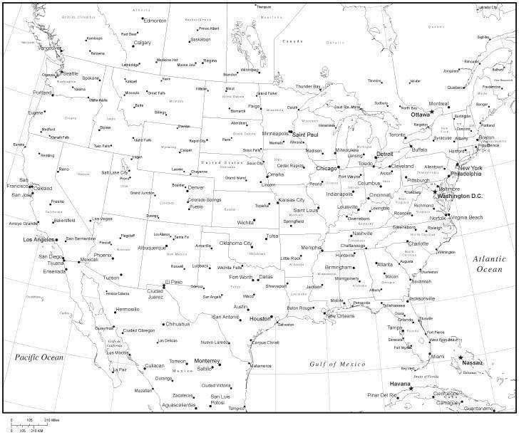 Black & White United States Map with US States, Canadian Provinces,  Capitals and Major Cities