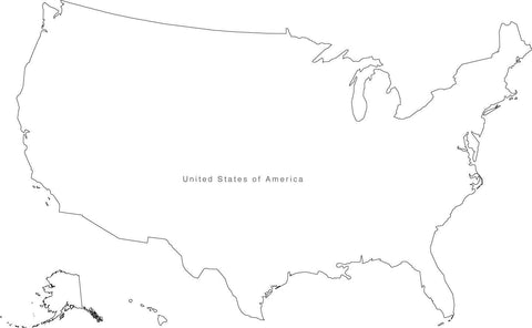 Digital Black & White USA map in Adobe Illustrator EPS vector format