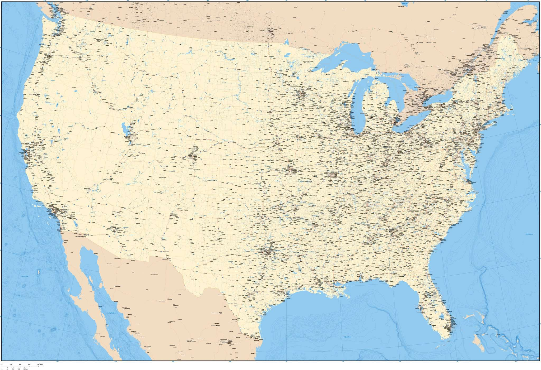 Wall Size USA Digital Map with Roads and Cities in Amazing Detail