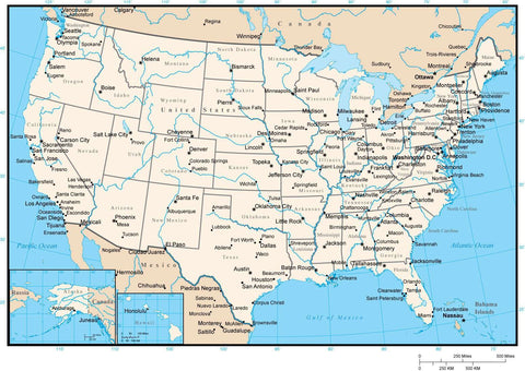 United States Map with State Areas, Major Rivers, and Capitals