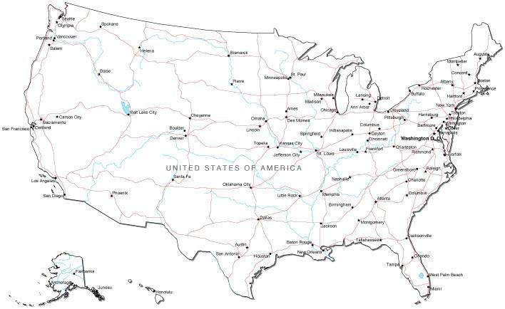 Map Of Usa Black And White USA Black & White map in Adobe Illustrator Vector Format