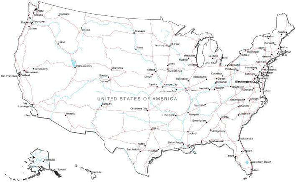 USA Black & White Map With Capital Major Cities Roads And Water Featur