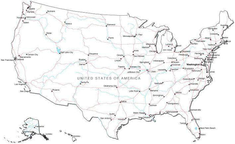 USA Black & White Map with Capital, Major Cities, Roads, and Water Features