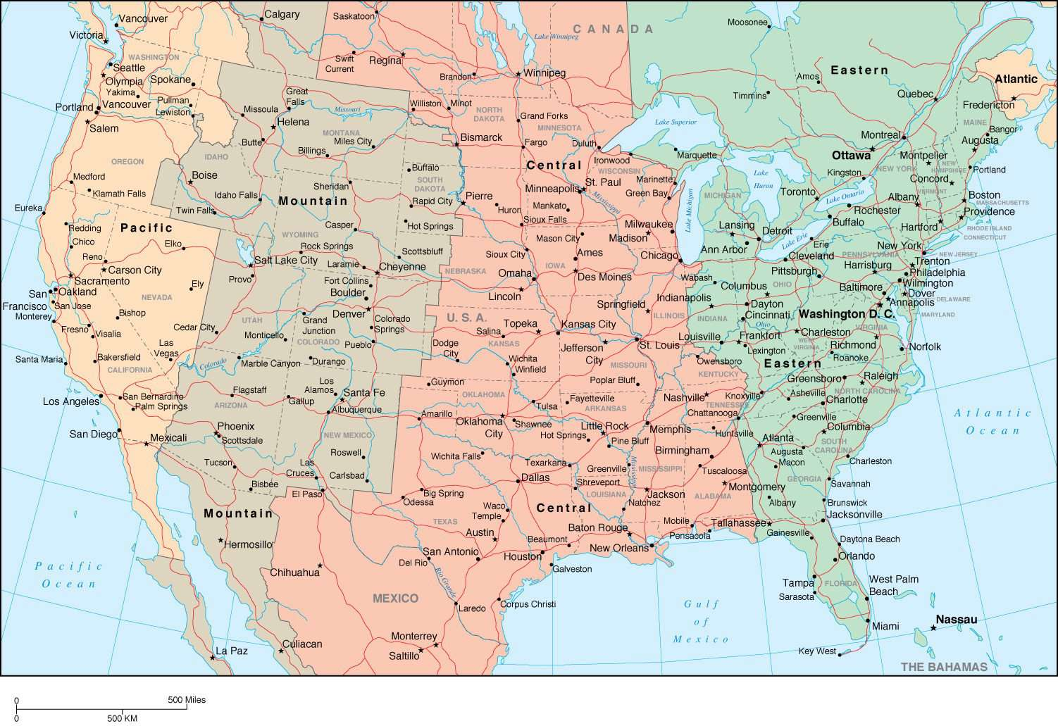 Digital USA Time Zone map in Adobe Illustrator vector format – Map ...