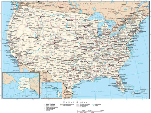 USA Map Curved Projection with Capitals, Cities, Roads, and Water Features