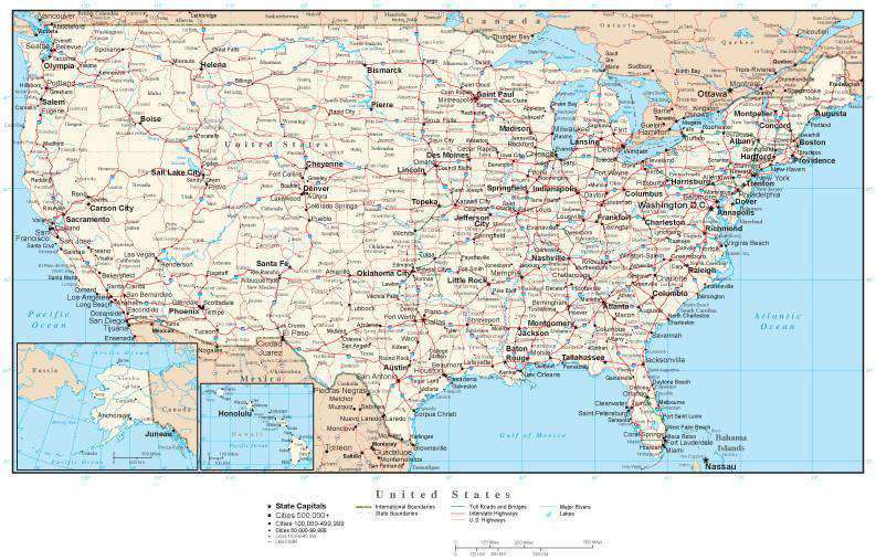 USA Map Rectangular Projection with Capitals, Cities, Roads and Water  Features