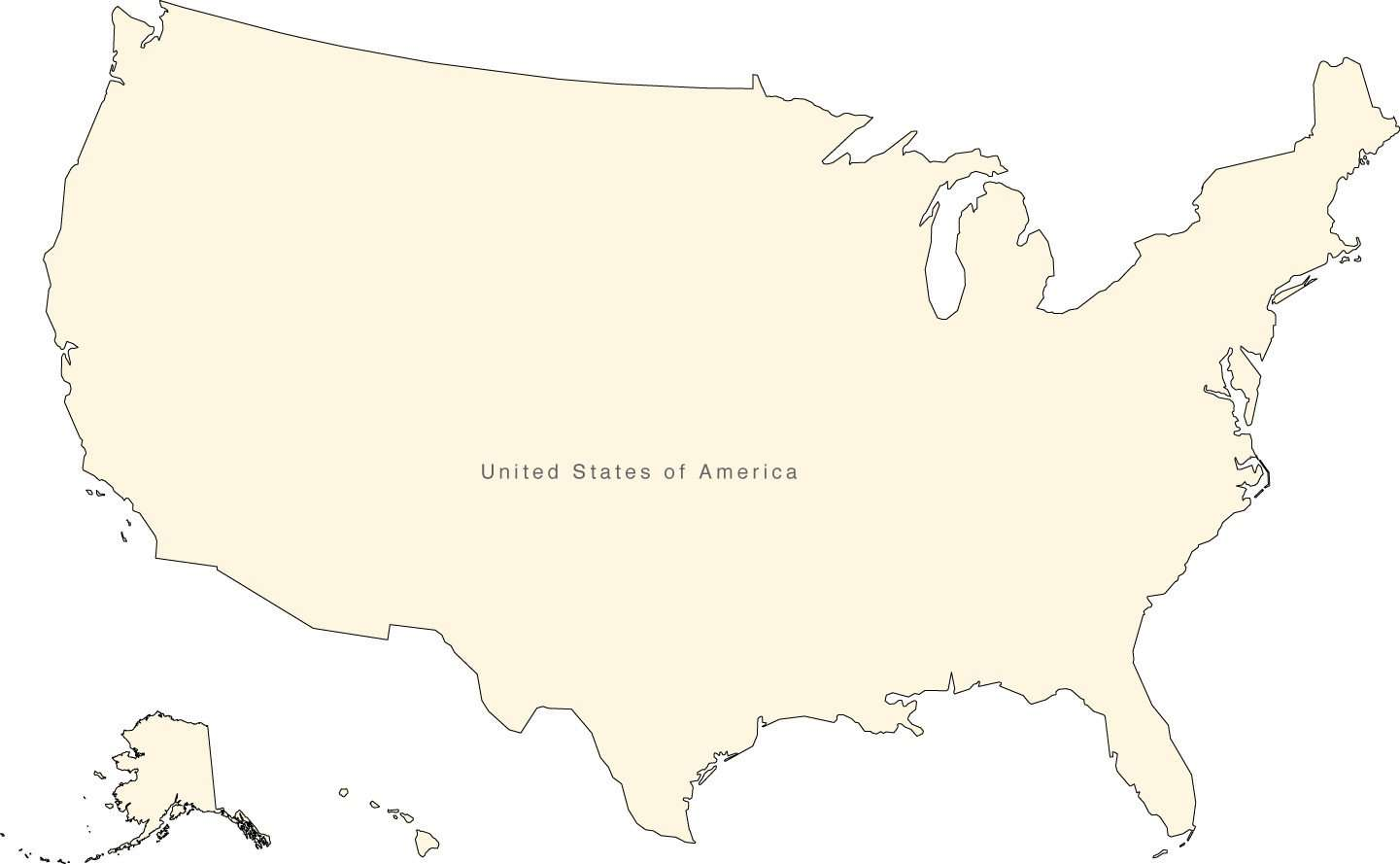Digital Usa Map Simple Outline