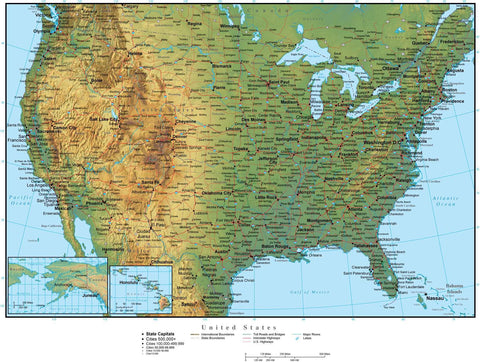Digital USA Terrain map in Adobe Illustrator vector format with Terrain USA-XX-941923