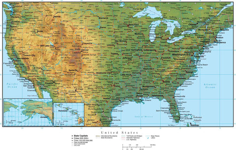 Digital USA Terrain map in Adobe Illustrator vector format with Terrain USA-XX-942246