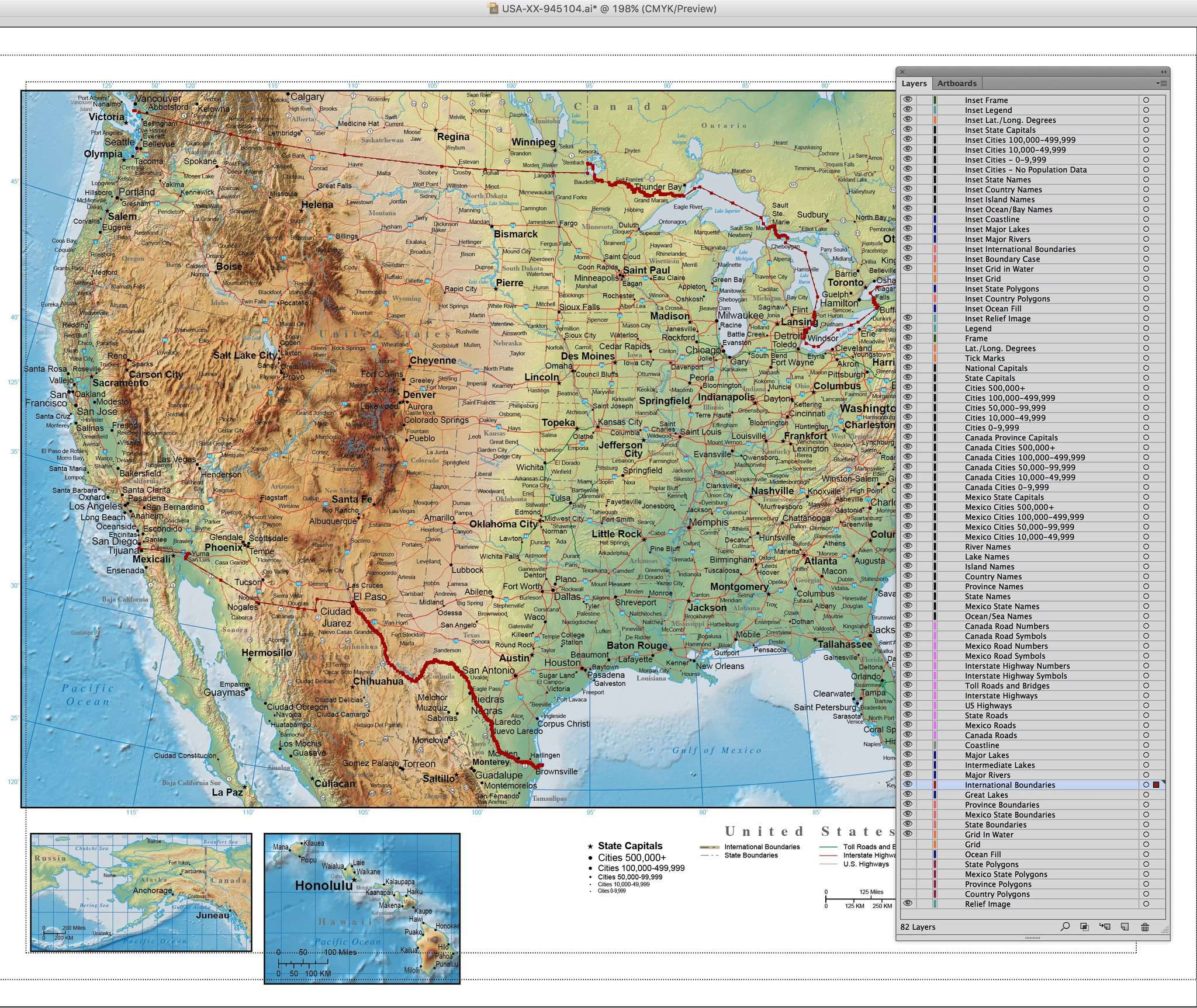 Digital Page Size USA Map with Land and Ocean Floor Terrain