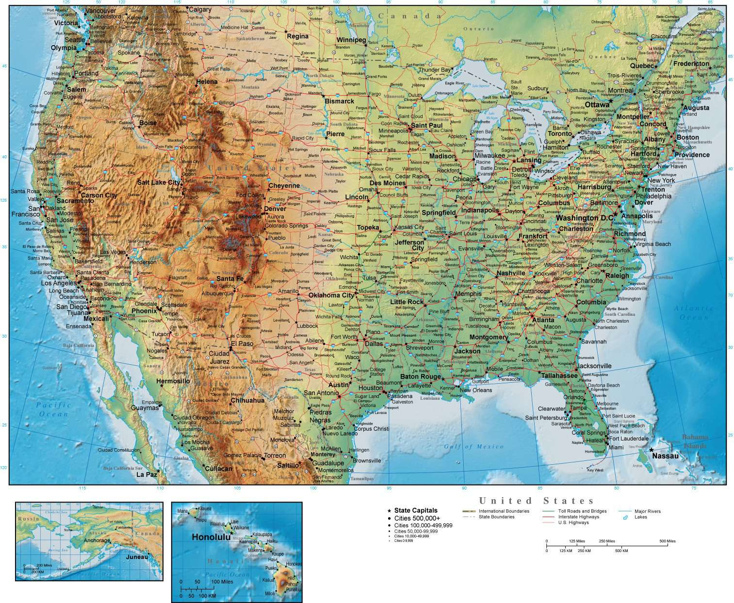Real Map Of The United States.Digital Page Size Usa Map With Land And Ocean Floor Terrain