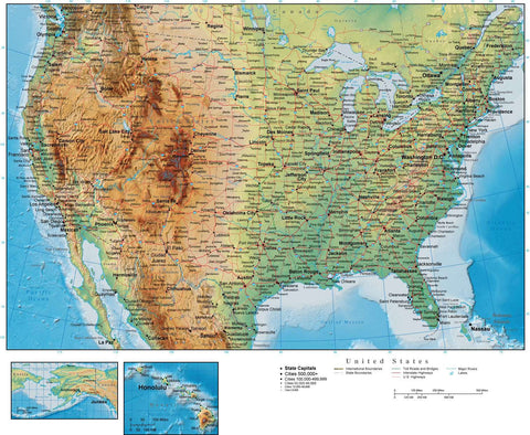 Digital United States Terrain map in Adobe Illustrator vector format USA-XX-945104
