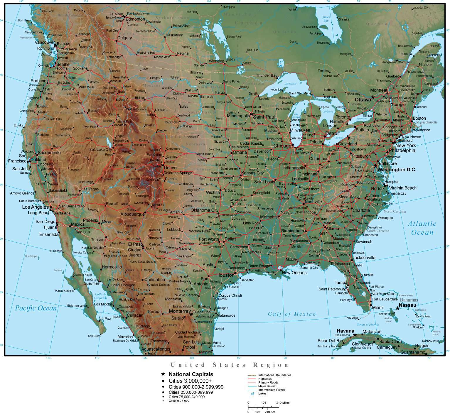 USA Region Map Plus Terrain with Countries, US States, Capitals, Cities, on countries border belize, countries border bangladesh, countries border brazil, countries border armenia, countries border venezuela, countries border paraguay, countries border croatia, countries border guatemala, countries border thailand, countries border ireland, countries border argentina, countries border bhutan, countries border israel, countries border europe, countries border czech republic, countries border france, countries border lebanon, countries border portugal, countries border colombia, countries border ethiopia,