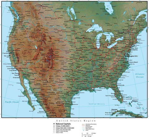 USA Region Terrain map in Adobe Illustrator vector format with Photoshop terrain image USA-XX-952851