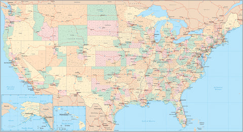 Poster Size USA Map with Congressional Districts plus Counties, Highways, Capitals, and Major Cities