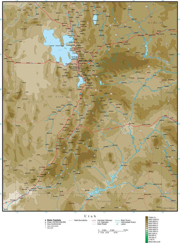 Utah Map with Contour Background