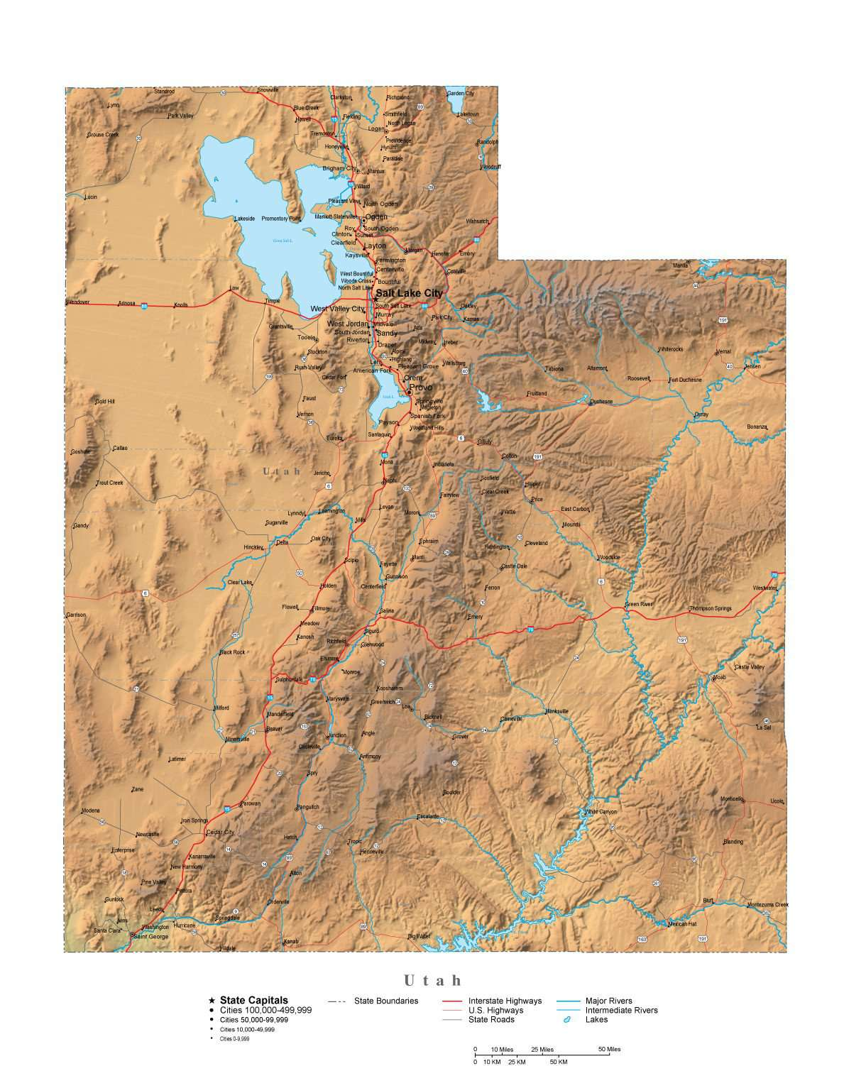 Utah Illustrator Vector Map With Cities Roads And Photoshop Terrain