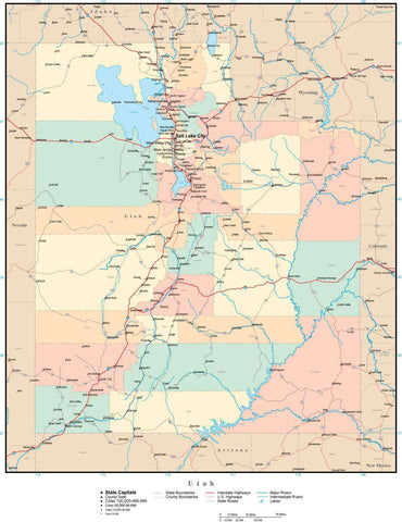 Utah Map with Counties, Cities, County Seats, Major Roads, Rivers and Lakes