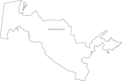 Digital Black & White Uzbekistan map in Adobe Illustrator EPS vector format