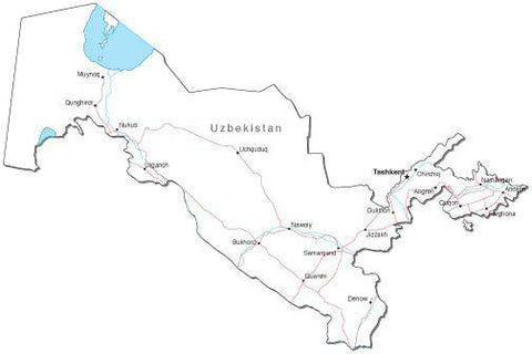 Uzbekistan Black & White Map with Capital, Major Cities, Roads, and Water Features
