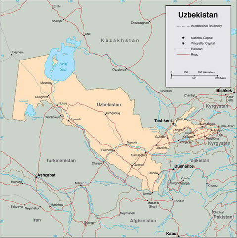 Digital Uzbekistan map in Adobe Illustrator vector format
