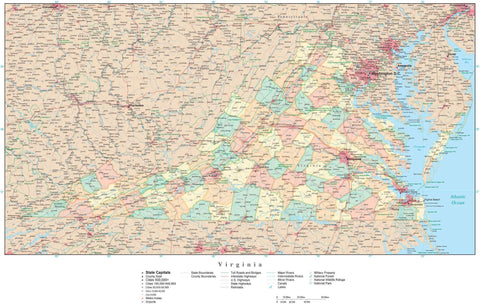 Poster Size Virginia Map with Counties, Cities, Highways, Railroads, Airports, National Parks and more