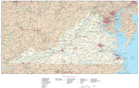 Poster Size Virginia Map with County Boundaries, Cities, Highways, National Parks, and more