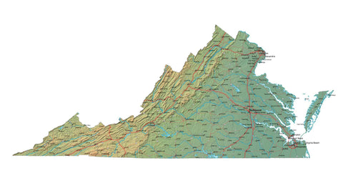 Digital Virginia map in Fit Together style with Terrain VA-USA-852103